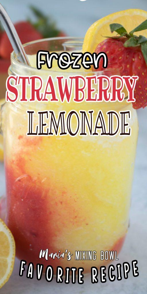 Closeup shot of strawberry lemonade slush