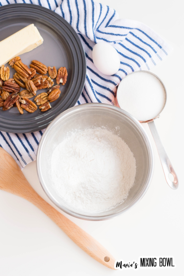 Ingredients for caramel pecan cookies