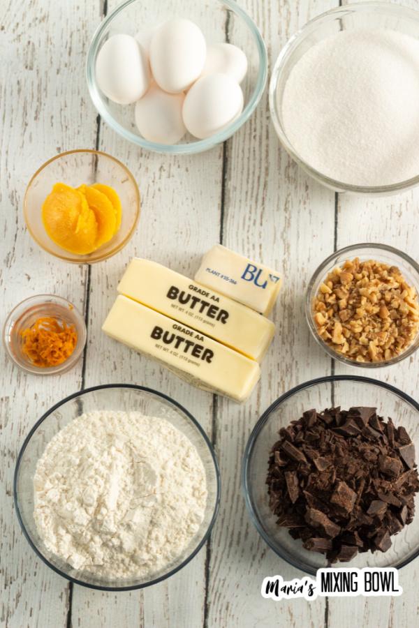 ingredients for orange fudge brownies
