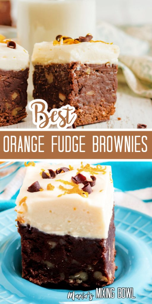 orange Fudge Brownies on white board and blue plate