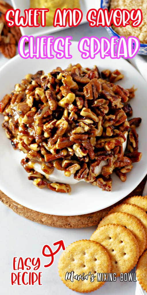 sweet and savory cheese spread with pecans on white plate