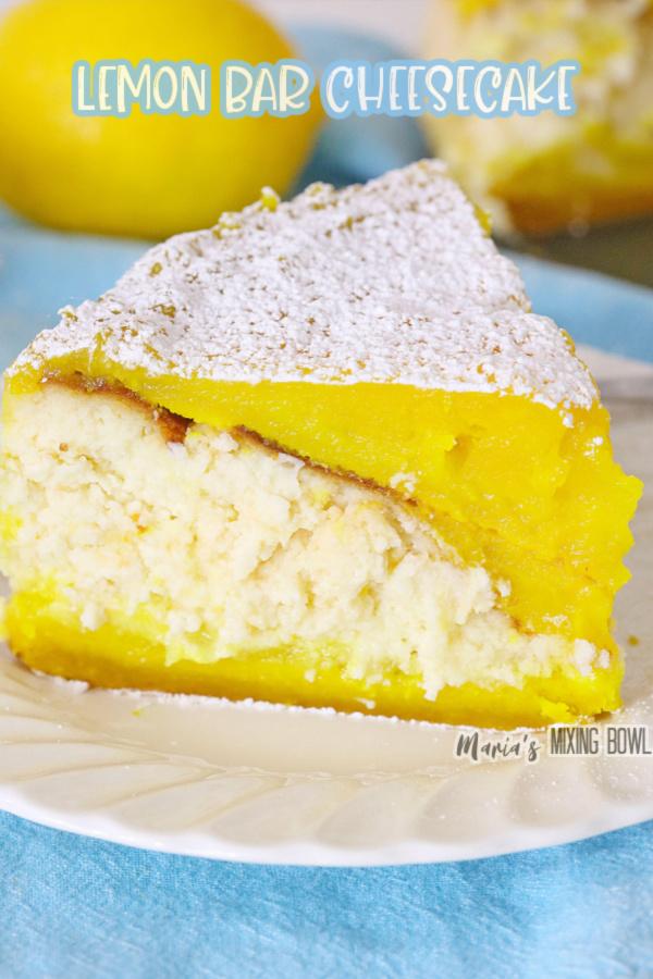 Closeup shot of slice of lemon bar cheesecake on white plate