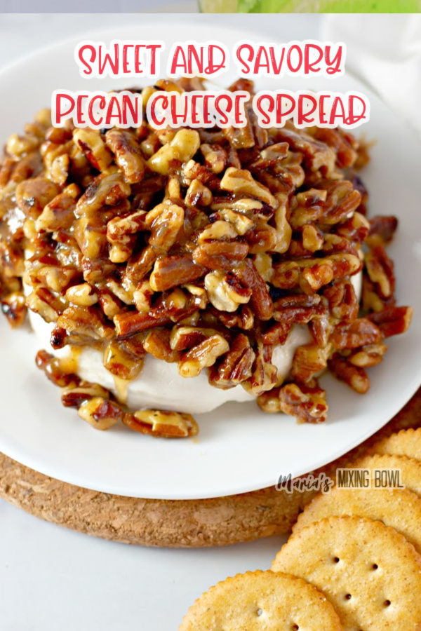 sweet savory pecan cheese spread on white plate