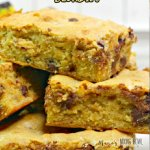 chunky monkey blondies on a white plate