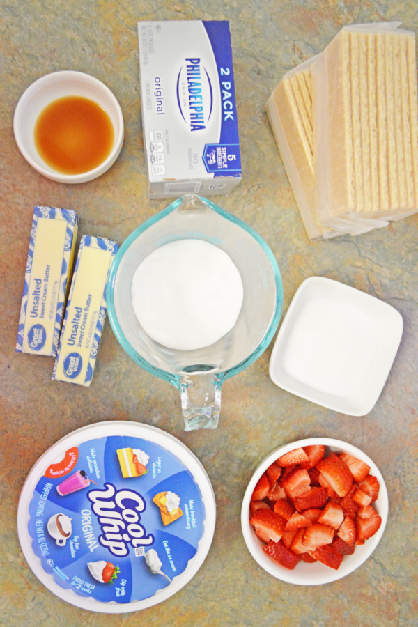 Overhead shot of ingredients for no bake strawberry cheesecake bars