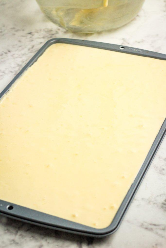 Baked cake in pan