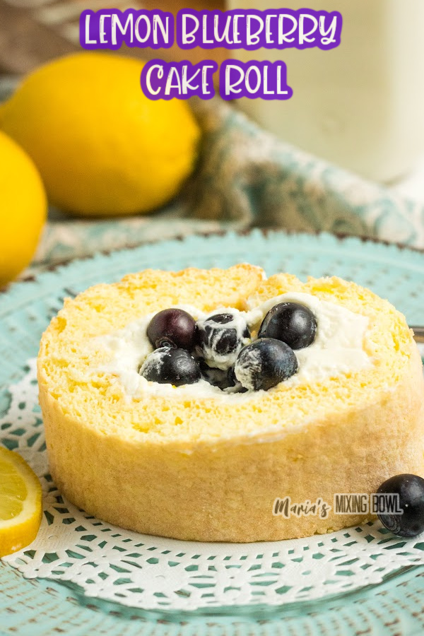 Closeup shot of lemon bluerberry cake roll