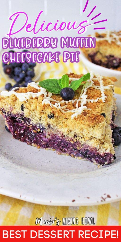 Closeup shot of slice of blueberry muffin cheesecake pie