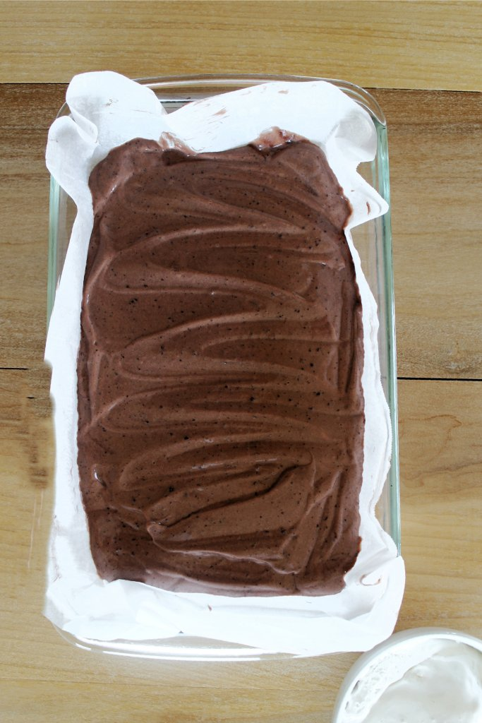 Overhead shot of chocolate pudding in baking dish