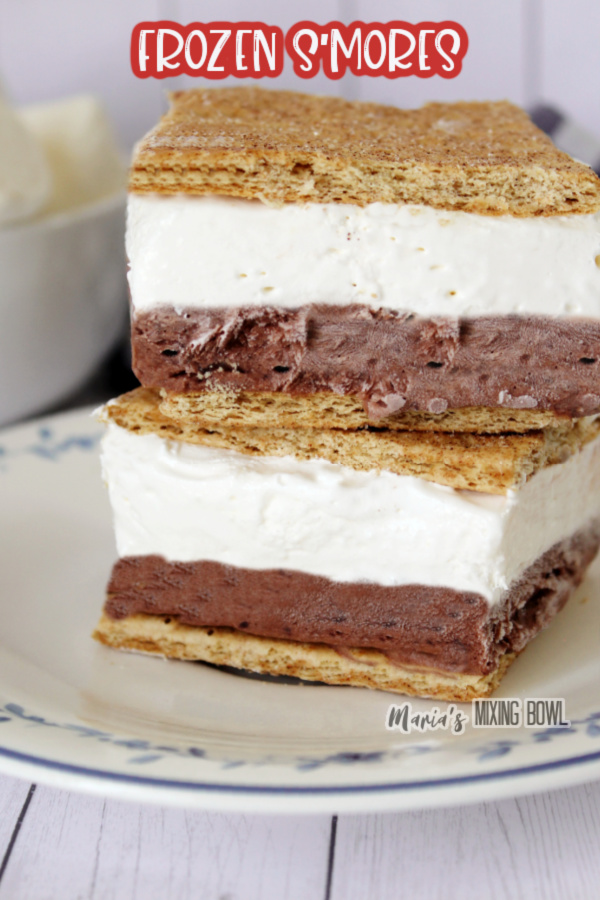 Two frozen s'mores stacked atop one another on plate