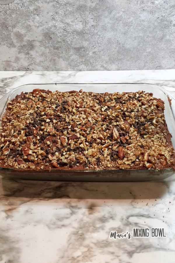 Choclate poke cake topped with pecan in baking dish