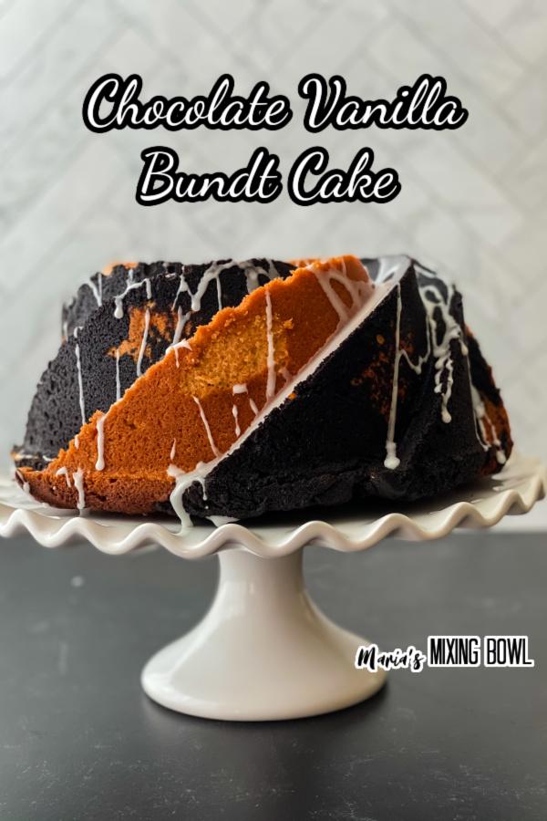 Chocolate vanilla bundet cake on white cake stand