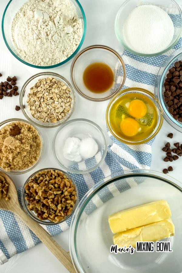 Overhead shot of cookie ingredients in individual bowls