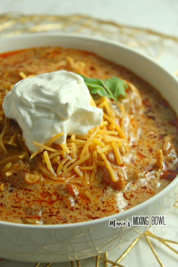 Fajita soup in a white bowl