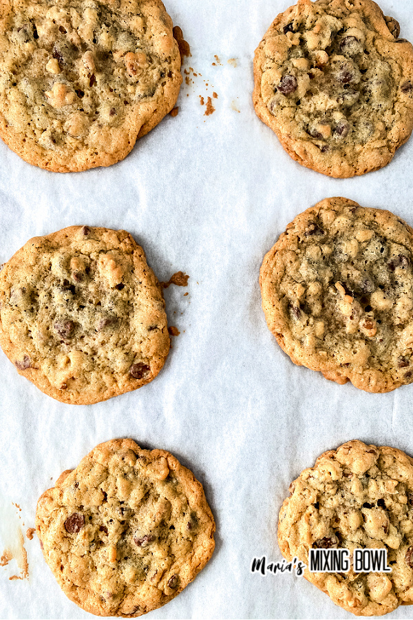 Overhead shot of copycat doubletree chocolate chips cookies on parchment paper