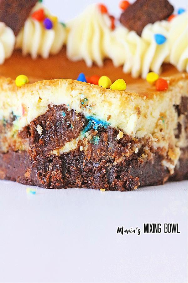 Closeup shot of slice of cosmic brownie cheesecake