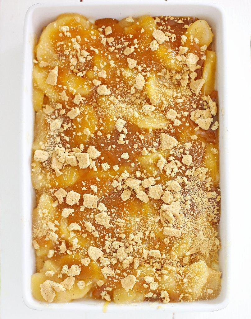 Overhead shot of caramel apple icebox cake in baking dish