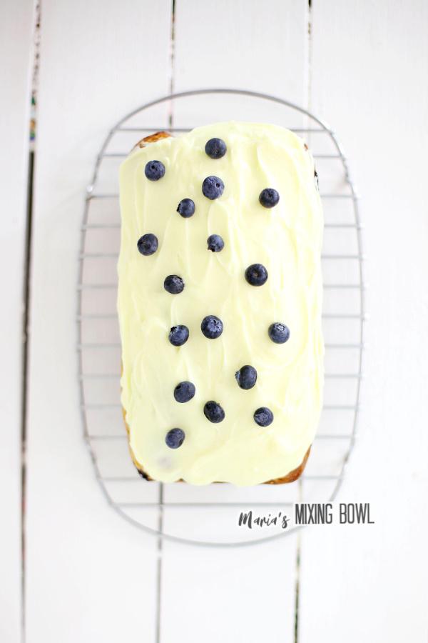 Overhead shot of lemon blueberry ice cream bread
