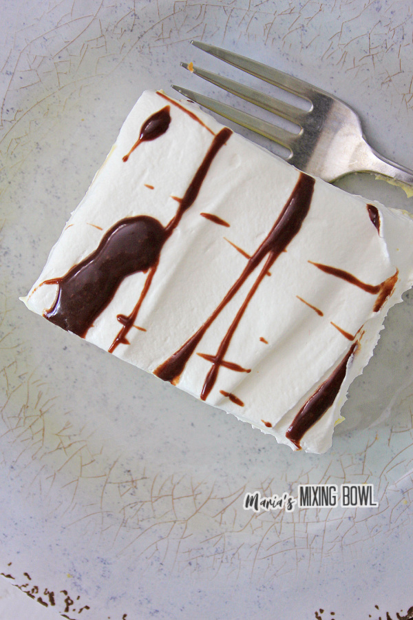 Overhead shot of slice of cake on plate