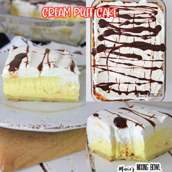 a collection of cream puff cake pictures