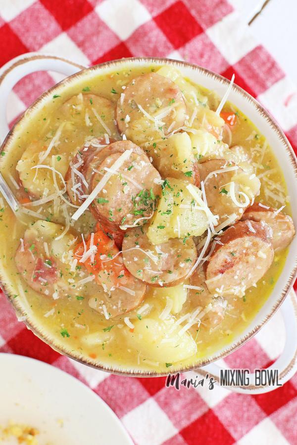 Overhead shot of bowl full of kielbasa potato soup