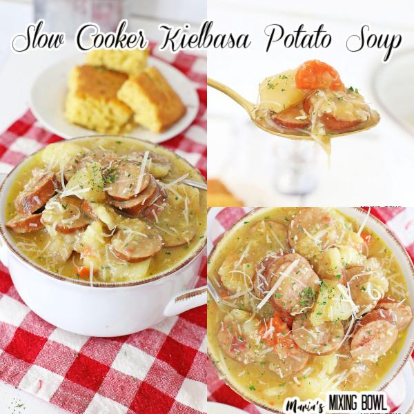 different shots of kielbasa soup